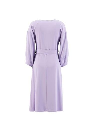 Setre Bej Kuşaklı Kruvaze Elbise Lila